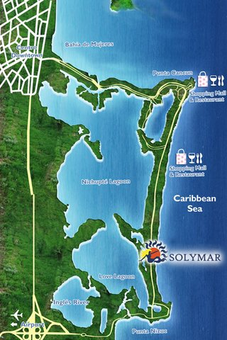 Solymar Cancun Beach Resort - CANCUN SOLYMAR LOCATION MAP