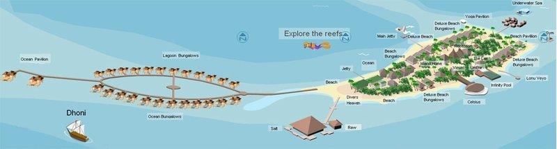 Huvafen Fushi Resort & Spa Mapa