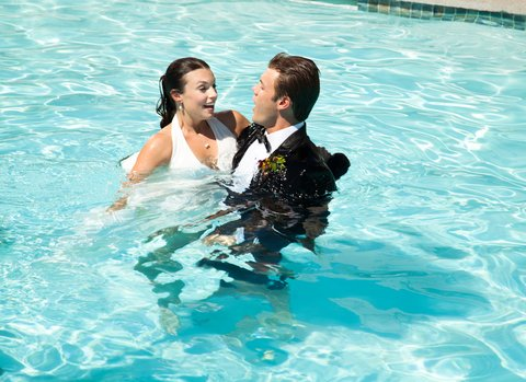 Boulders Resort & Golden Door Spa - Wedding couple in Lodge Pool - Sams - 07 10