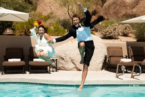 Boulders Resort & Golden Door Spa - Wedding Couple Jumping in Lodge Pool - Sams - 07 1