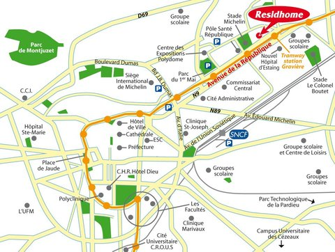 Residhome Gergovia Clermont - Map