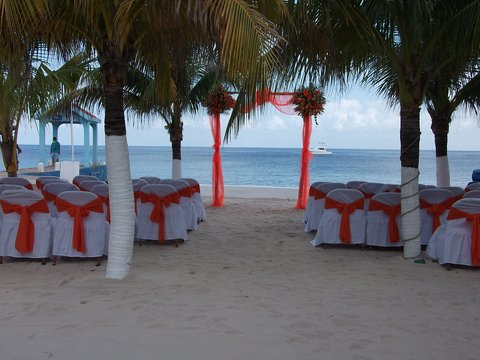 Secrets Aura Cozumel - All Inclusive - Wedding set up under the palm trees