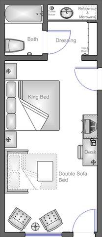 Anaheim Camelot Inn Suites - King Mini Suite Floor Plan