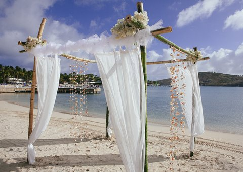 St. James Club All Inclusive Hotel - Mamora Bay Beach Wedding Setup