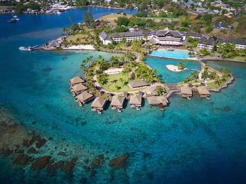 Intercontinental Resort Tahiti - Aerial view on the resort islets and surroundings