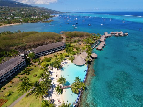Intercontinental Resort Tahiti - Aerial View of the Lotus pool area at the end of the resort