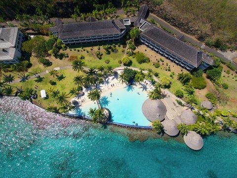 Intercontinental Resort Tahiti - Aerial view of the Lotus pool and Panoramic rooms buildings