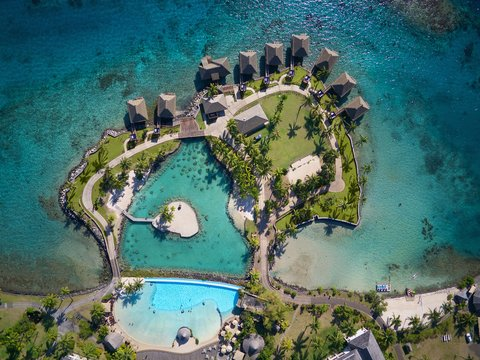 Intercontinental Resort Tahiti - Aerial View on the Te Tiare pool and Islets