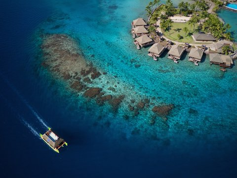 Intercontinental Resort Tahiti - Aerial View of the Hotel islet and our Overwater Motu bungalows
