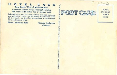 Holiday Inn Express CHICAGO - MAGNIFICENT MILE - Hotel Cass a Holiday Inn Express back of 1920 Postcard