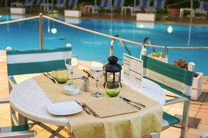 Poolside evening diner
