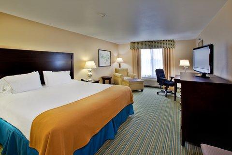 Holiday Inn Express WATERLOO-CEDAR FALLS - King Bed Guest Room w Keurig machine and refrigerator