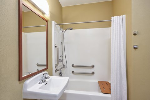 Candlewood Suites AURORA-NAPERVILLE - ADA Handicapped accessible Guest Bathroom with mobility tub