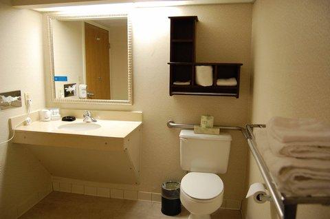 Hampton Inn Batesville IN - One Double Accessible Shower Bathroom