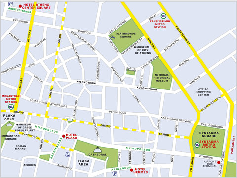 Athens Center Square Hotel - Map