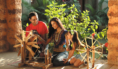 Vedic Village Spa Resort - Hand spinning for fun