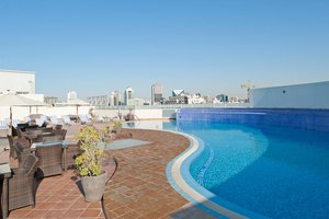 Relax at the rooftop swimming pool