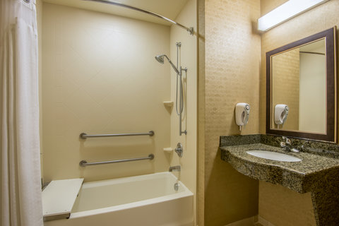 Holiday Inn Express Hotel & Suites Clovis - ADA Handicapped accessible Guest Bathroom with mobility tub