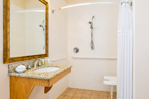 Staybridge Suites BROWNSVILLE - Wheelchair accessible Guest Bath withroll-in shower