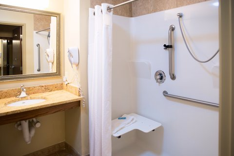 Holiday Inn Express DEVILS LAKE - Wheelchair accessible shower bathroom