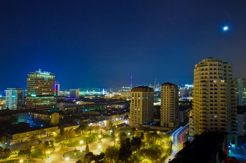 Staybridge Suites BAKU - Moonlight evening view from the Hotel Balcony