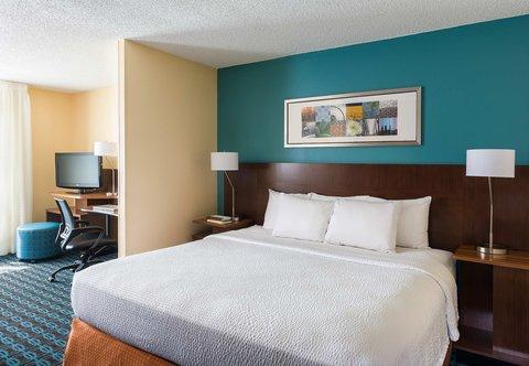Fairfield Inn & Suites Dallas Park Central - Executive King Suite   Sleeping Area