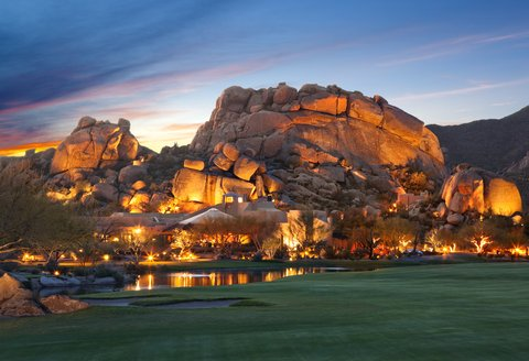 Boulders Resort & Golden Door Spa - Boulders Resort   Spa - Boulder formation at dusk