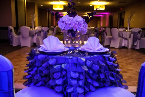 Embassy Suites Market Center Hotel - Place Setting for Two at Wedding Head Table